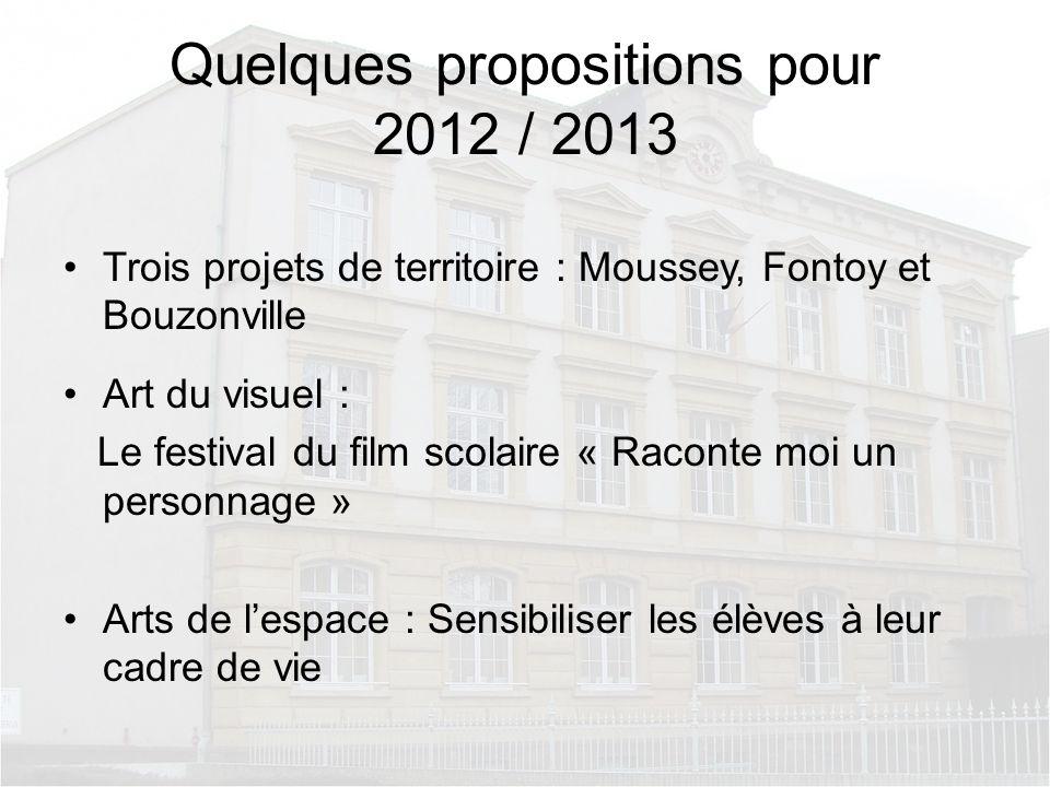 Quelques propositions pour 2012 / 2013 Trois projets de territoire : Moussey, Fontoy et Bouzonville Art du visuel : Le festival du film scolaire « Rac