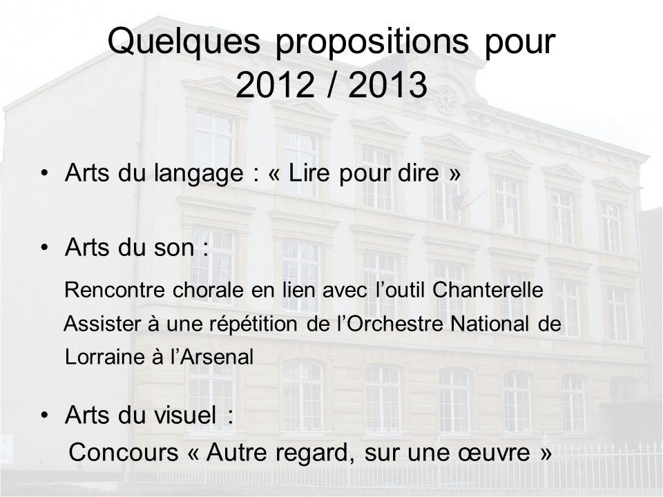Quelques propositions pour 2012 / 2013 Arts du langage : « Lire pour dire » Arts du son : Rencontre chorale en lien avec loutil Chanterelle Assister à