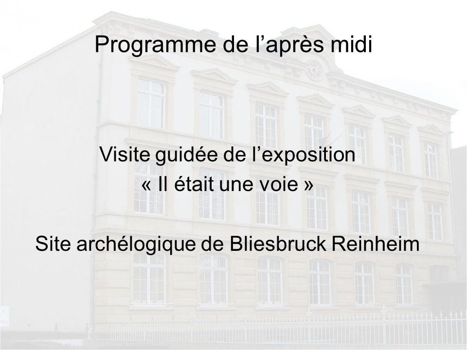 Programme de laprès midi Visite guidée de lexposition « Il était une voie » Site archélogique de Bliesbruck Reinheim