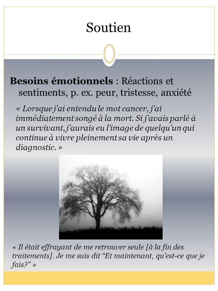 Soutien Besoins émotionnels : Réactions et sentiments, p. ex. peur, tristesse, anxiété « Il était effrayant de me retrouver seule [à la fin des traite