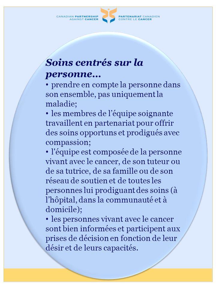 Soins centrés sur la personne… prendre en compte la personne dans son ensemble, pas uniquement la maladie; les membres de léquipe soignante travaillen
