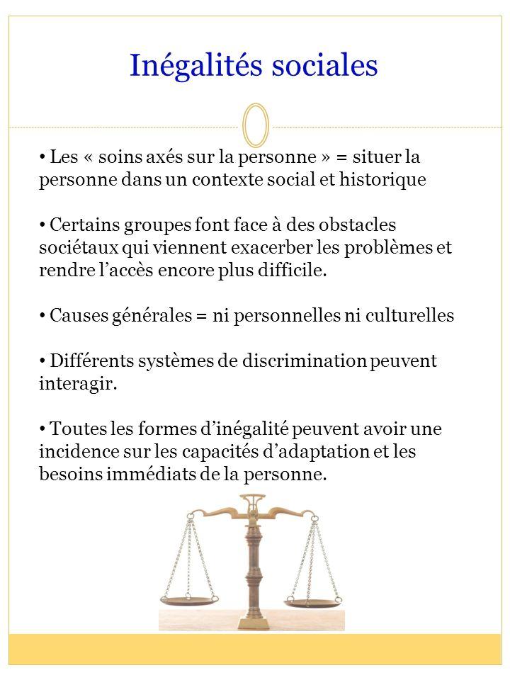 Inégalités sociales Les « soins axés sur la personne » = situer la personne dans un contexte social et historique Certains groupes font face à des obs