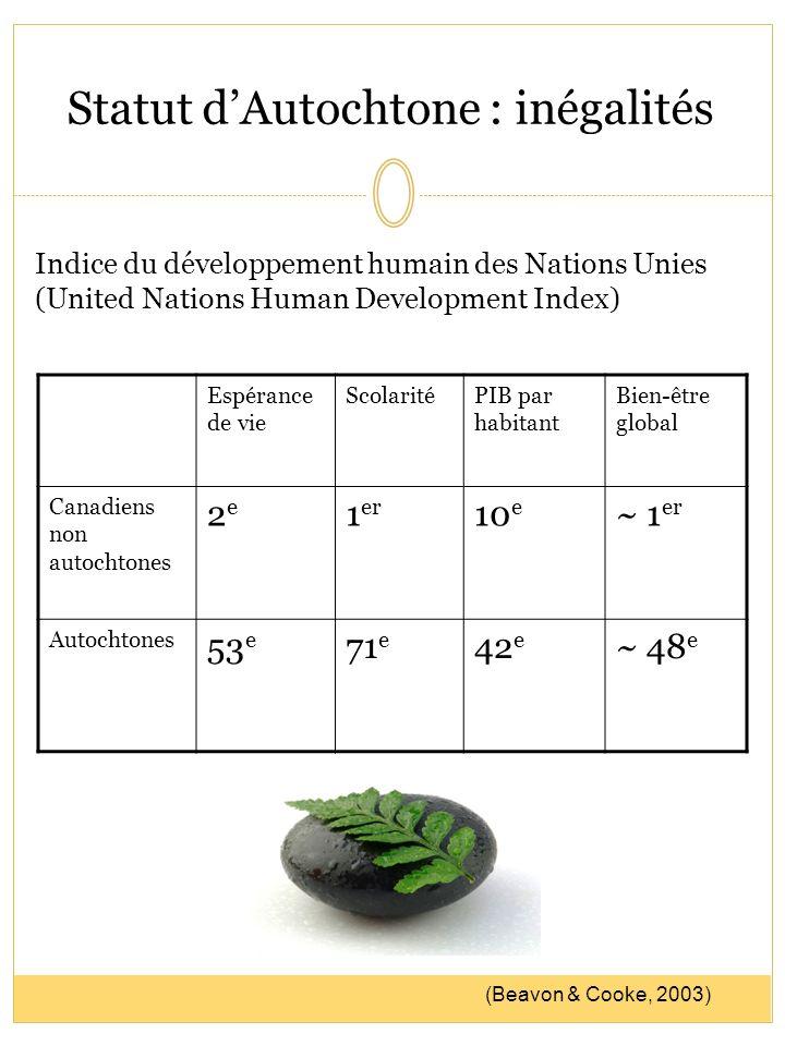 Statut dAutochtone : inégalités Espérance de vie ScolaritéPIB par habitant Bien-être global Canadiens non autochtones 2e2e 1 er 10 e ~ 1 er Autochtone