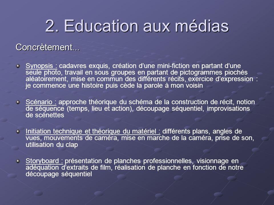 2. Education aux médias Concrètement … Synopsis : cadavres exquis, création dune mini-fiction en partant dune seule photo, travail en sous groupes en