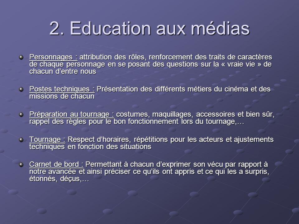 2. Education aux médias Personnages : attribution des rôles, renforcement des traits de caractères de chaque personnage en se posant des questions sur