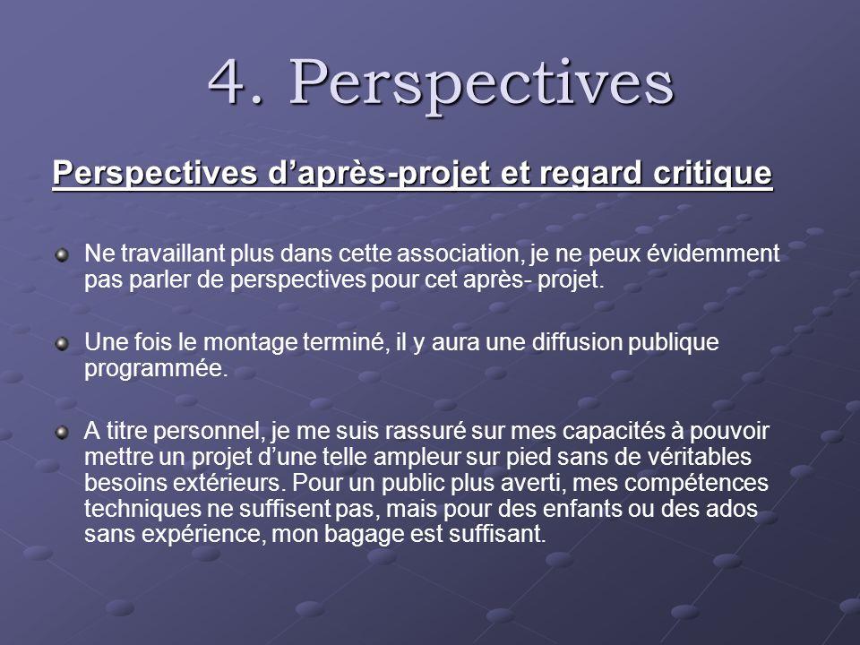 4. Perspectives 4. Perspectives Perspectives daprès-projet et regard critique Ne travaillant plus dans cette association, je ne peux évidemment pas pa