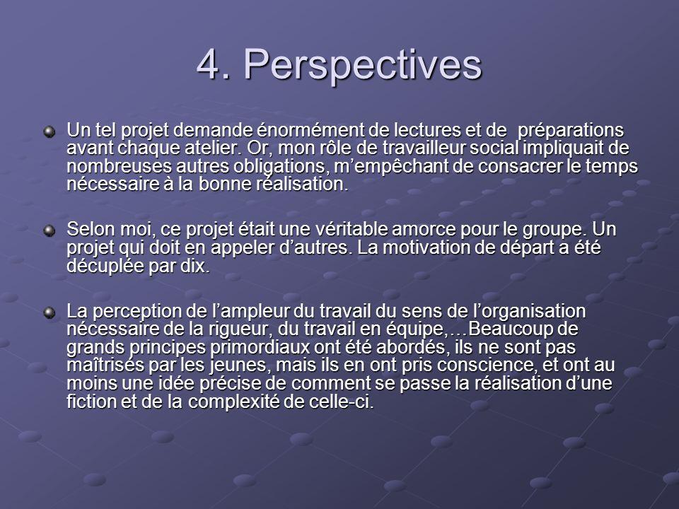 4. Perspectives Un tel projet demande énormément de lectures et de préparations avant chaque atelier. Or, mon rôle de travailleur social impliquait de