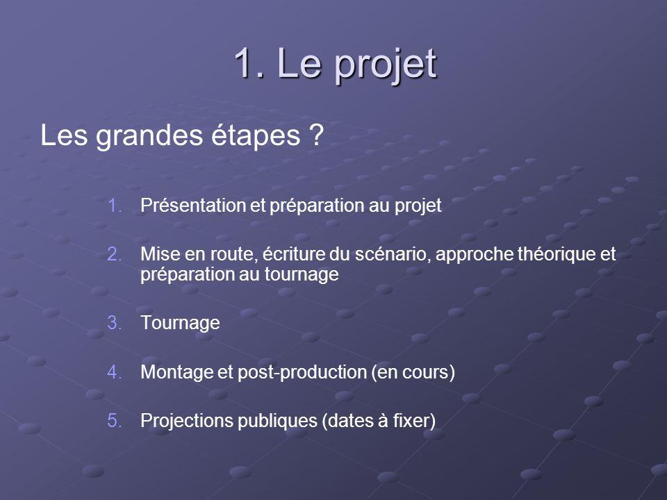 1. Le projet Les grandes étapes ? 1. 1.Présentation et préparation au projet 2. 2.Mise en route, écriture du scénario, approche théorique et préparati