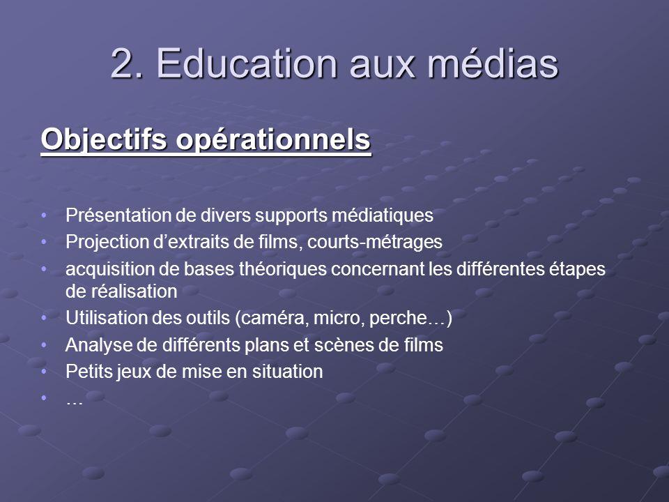 2. Education aux médias Objectifs opérationnels Présentation de divers supports médiatiques Projection dextraits de films, courts-métrages acquisition