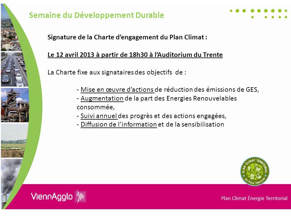 Signature de la Charte dengagement du Plan Climat : Le 12 avril 2013 à partir de 18h30 à lAuditorium du Trente La Charte fixe aux signataires des objectifs de : - Mise en œuvre dactions de réduction des émissions de GES, - Augmentation de la part des Energies Renouvelables consommée, - Suivi annuel des progrès et des actions engagées, - Diffusion de linformation et de la sensibilisation Semaine du Développement Durable