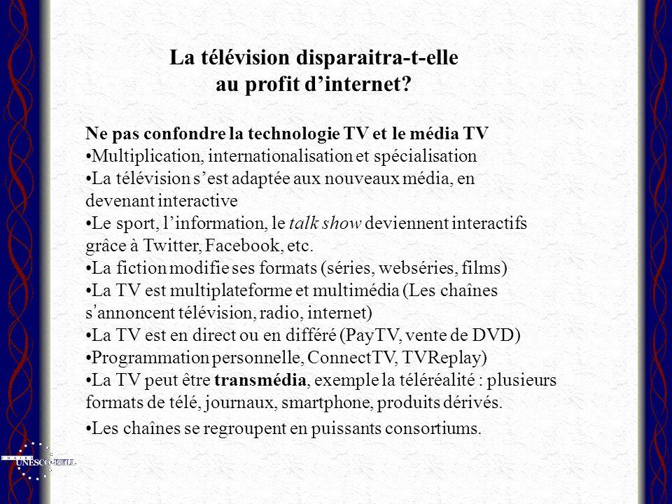 Ne pas confondre la technologie TV et le média TV Multiplication, internationalisation et spécialisation La télévision sest adaptée aux nouveaux média