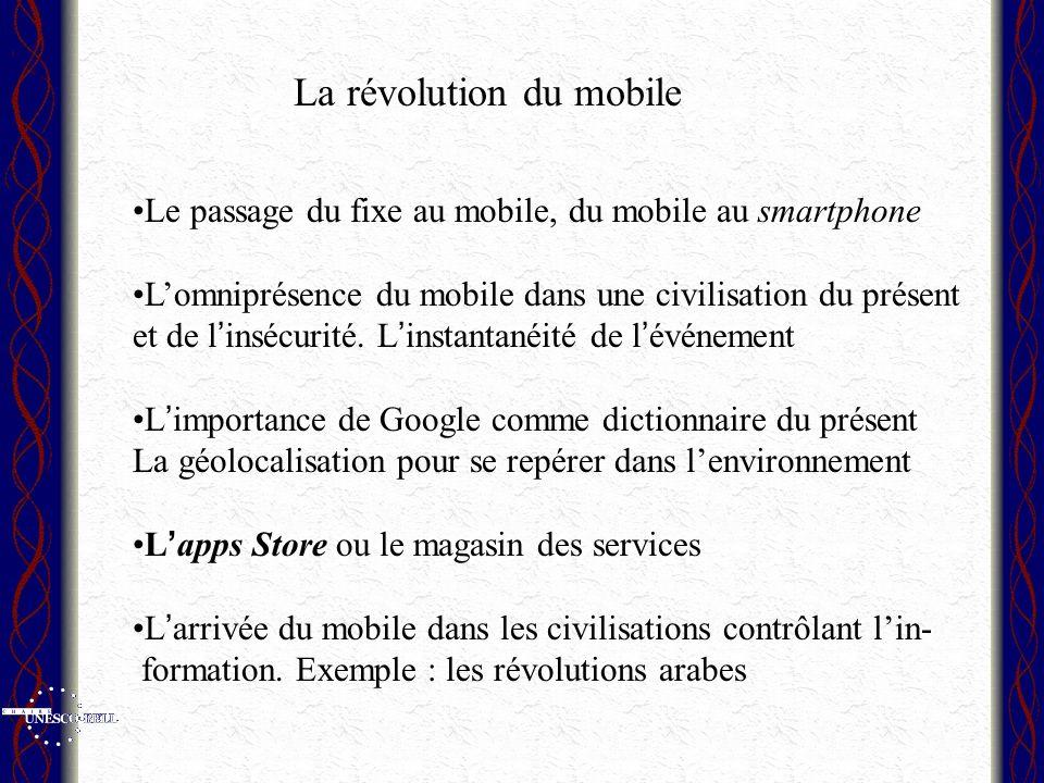 Le passage du fixe au mobile, du mobile au smartphone Lomniprésence du mobile dans une civilisation du présent et de l insécurité. L instantanéité de