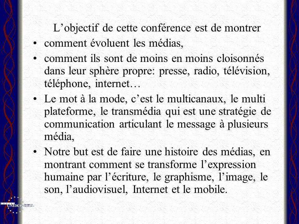 Lobjectif de cette conférence est de montrer comment évoluent les médias, comment ils sont de moins en moins cloisonnés dans leur sphère propre: press