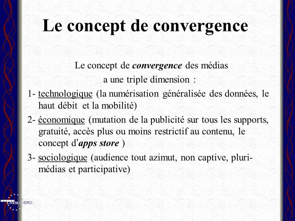 Le concept de convergence Le concept de convergence des médias a une triple dimension : 1- technologique (la numérisation généralisée des données, le