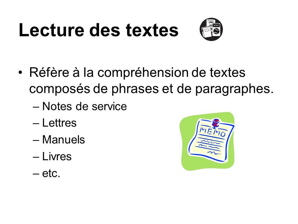 Lecture des textes Réfère à la compréhension de textes composés de phrases et de paragraphes. –Notes de service –Lettres –Manuels –Livres –etc.