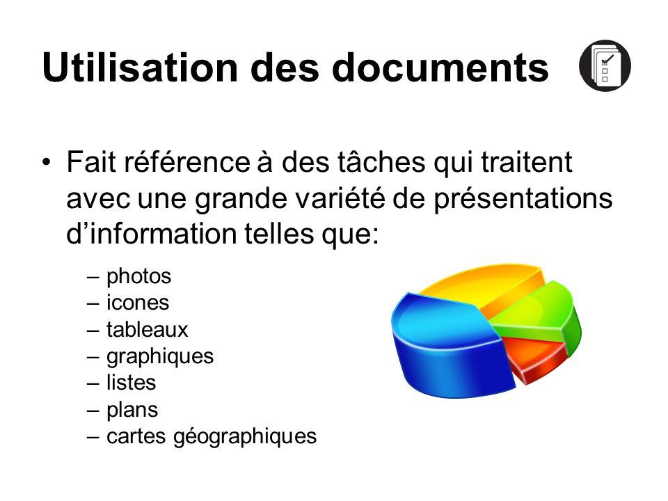 Utilisation des documents Fait référence à des tâches qui traitent avec une grande variété de présentations dinformation telles que: –photos –icones –