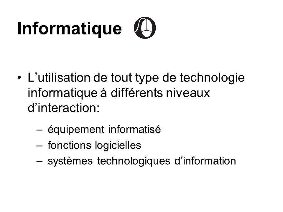 Informatique Lutilisation de tout type de technologie informatique à différents niveaux dinteraction: –équipement informatisé –fonctions logicielles –
