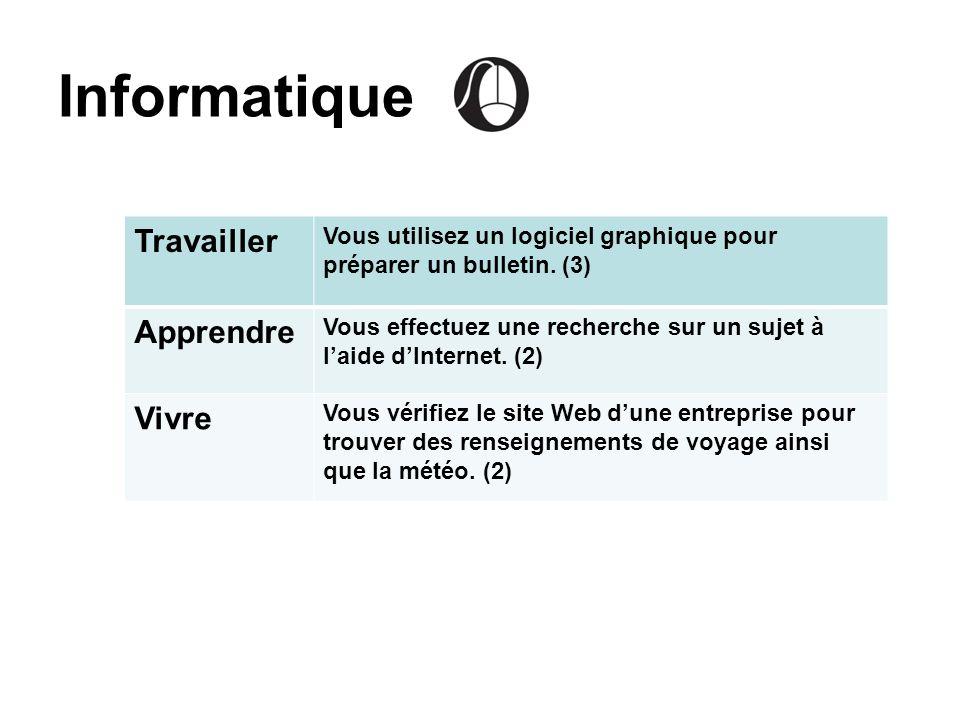 Informatique Travailler Vous utilisez un logiciel graphique pour préparer un bulletin. (3) Apprendre Vous effectuez une recherche sur un sujet à laide