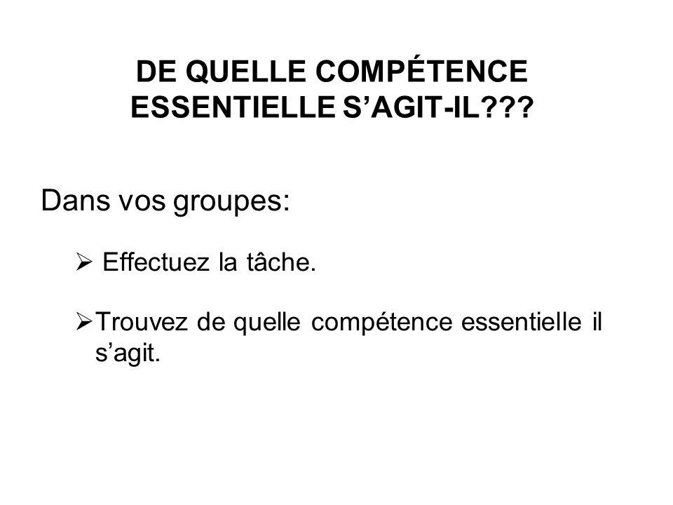 DE QUELLE COMPÉTENCE ESSENTIELLE SAGIT-IL??? Dans vos groupes: Effectuez la tâche. Trouvez de quelle compétence essentielle il sagit.