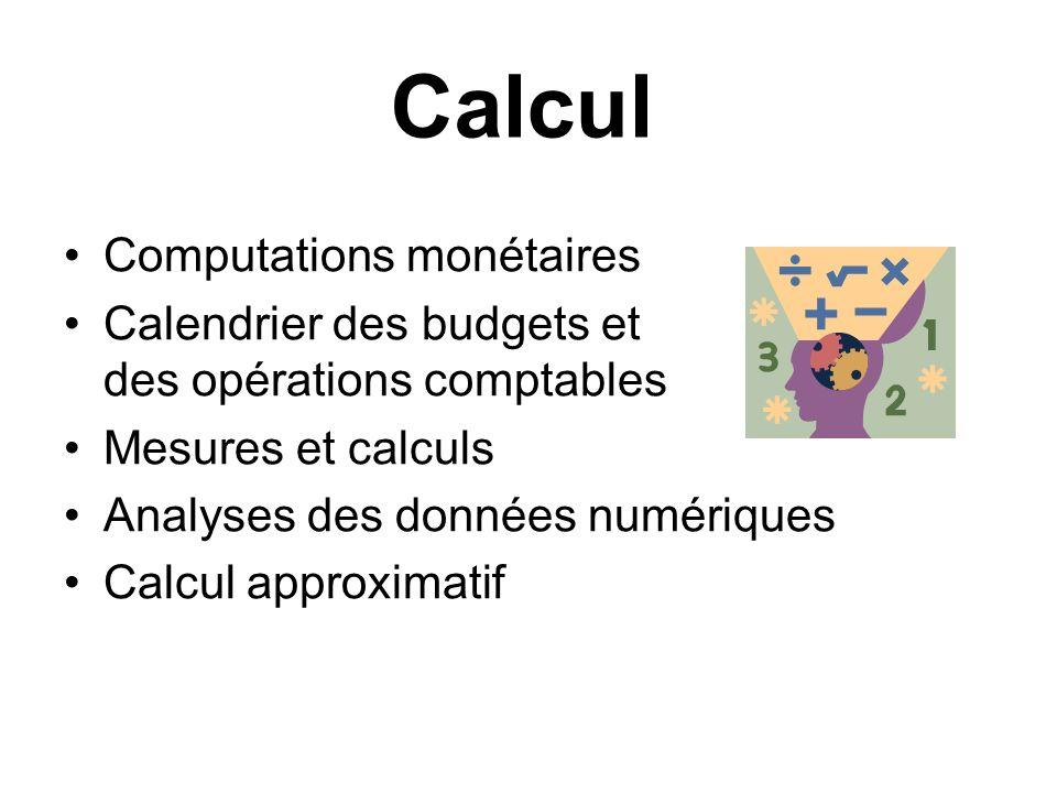 Calcul Computations monétaires Calendrier des budgets et des opérations comptables Mesures et calculs Analyses des données numériques Calcul approxima
