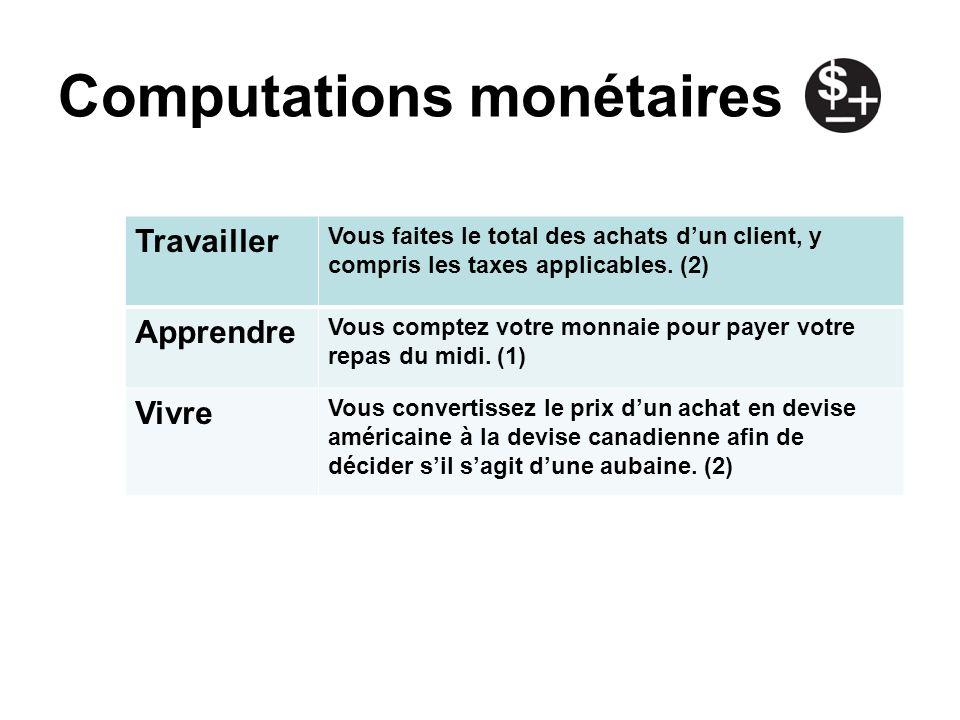 Computations monétaires Travailler Vous faites le total des achats dun client, y compris les taxes applicables. (2) Apprendre Vous comptez votre monna