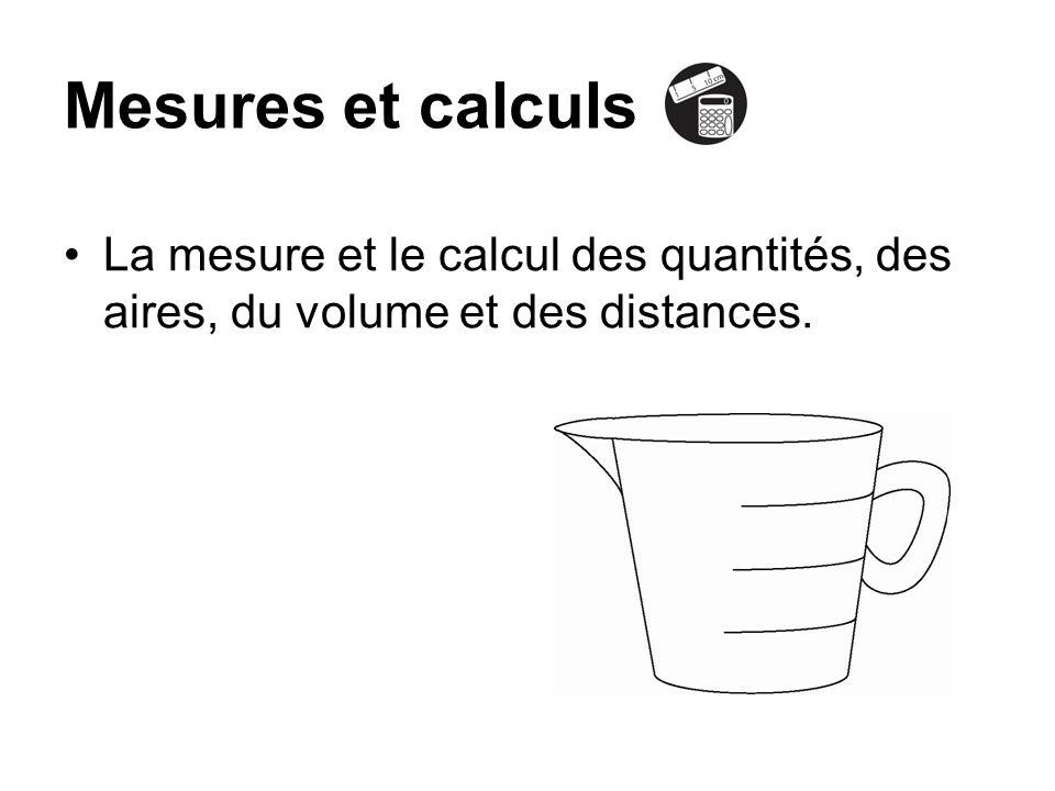 La mesure et le calcul des quantités, des aires, du volume et des distances. Mesures et calculs