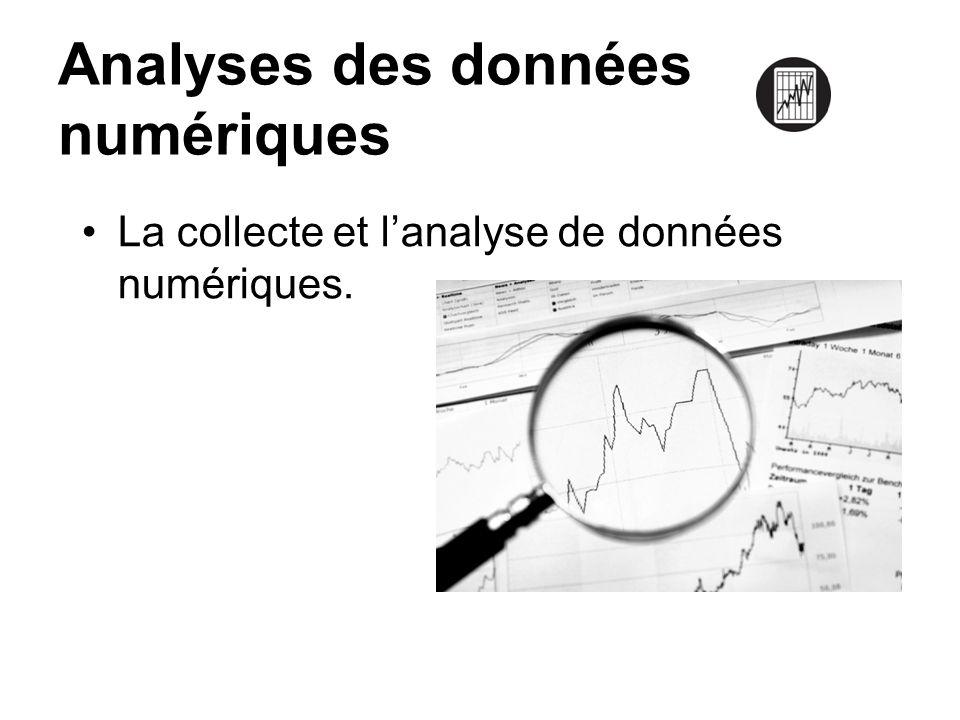 Analyses des données numériques La collecte et lanalyse de données numériques.