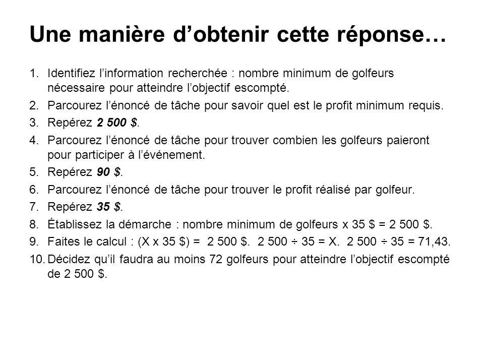 1.Identifiez linformation recherchée : nombre minimum de golfeurs nécessaire pour atteindre lobjectif escompté. 2.Parcourez lénoncé de tâche pour savo