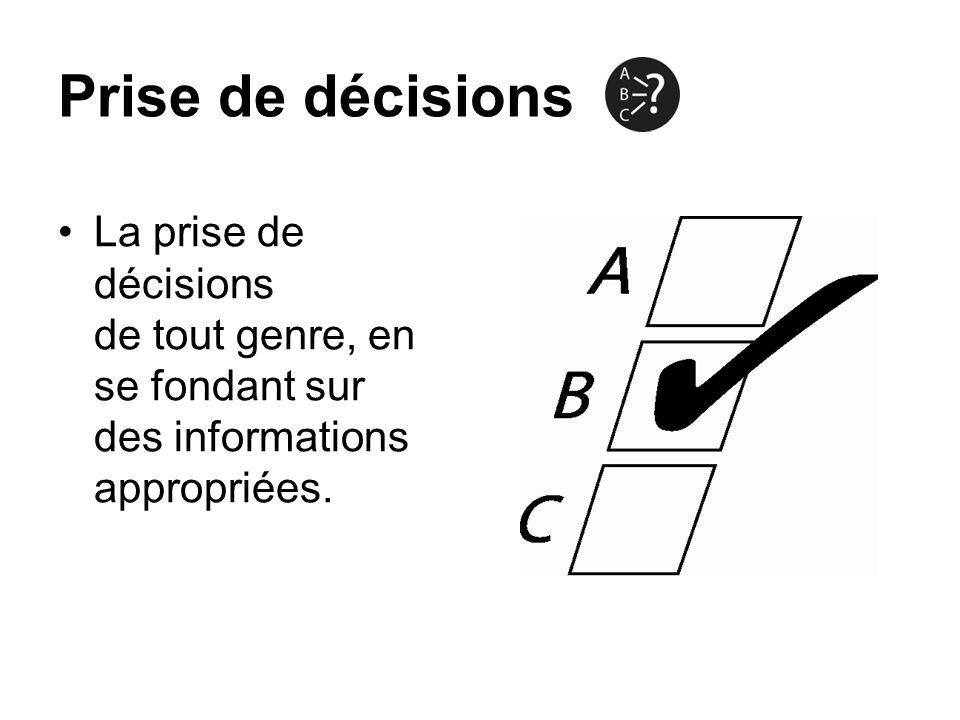 Prise de décisions La prise de décisions de tout genre, en se fondant sur des informations appropriées.