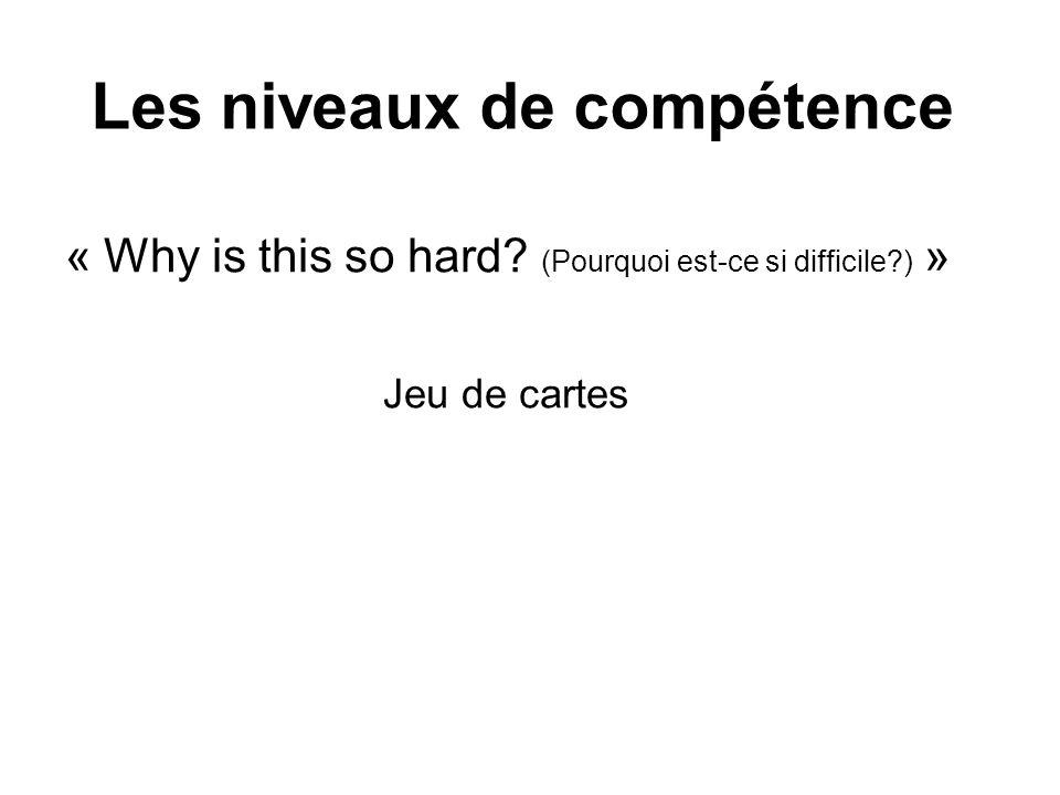 Les niveaux de compétence « Why is this so hard? (Pourquoi est-ce si difficile?) » Jeu de cartes