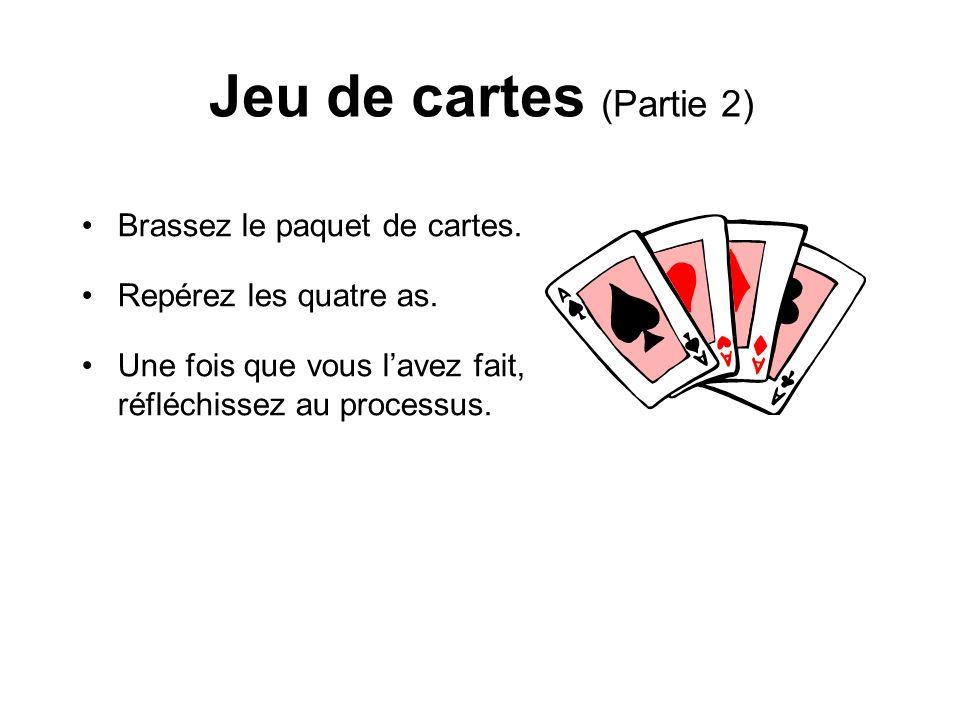 Jeu de cartes (Partie 2) Brassez le paquet de cartes. Repérez les quatre as. Une fois que vous lavez fait, réfléchissez au processus.