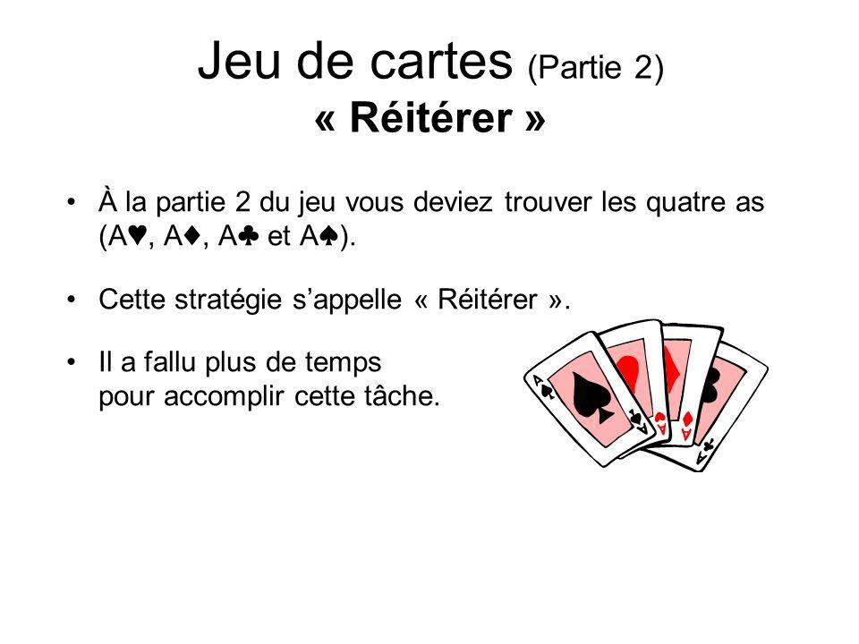 Jeu de cartes (Partie 2) « Réitérer » À la partie 2 du jeu vous deviez trouver les quatre as (A, A, A et A). Cette stratégie sappelle « Réitérer ». Il