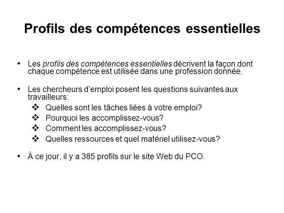 Profils des compétences essentielles Les profils des compétences essentielles décrivent la façon dont chaque compétence est utilisée dans une professi