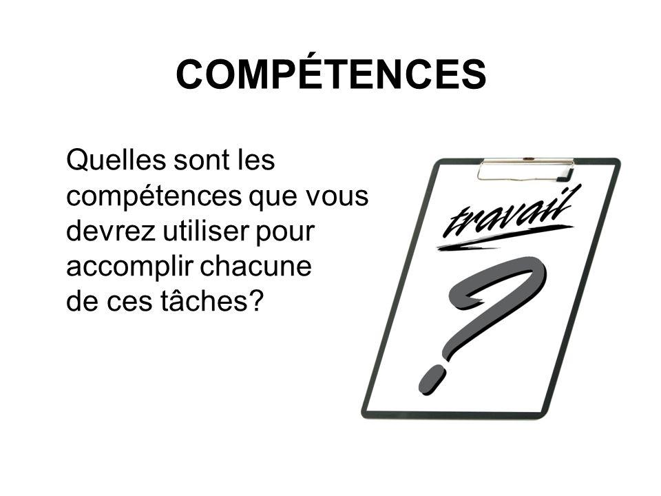 COMPÉTENCES Quelles sont les compétences que vous devrez utiliser pour accomplir chacune de ces tâches?