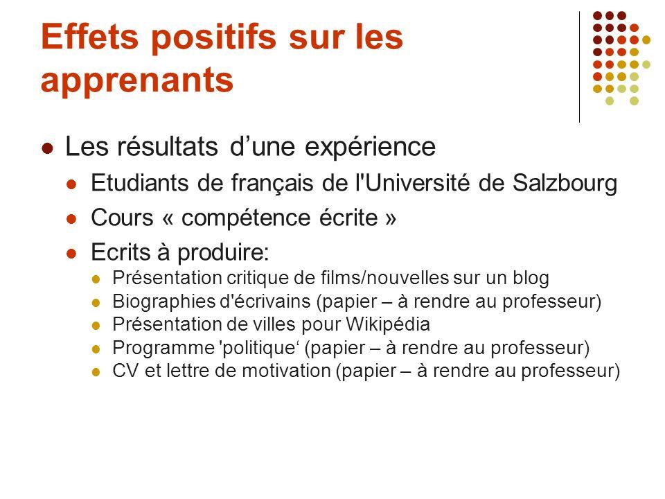 Effets positifs sur les apprenants Les résultats dune expérience Etudiants de français de l'Université de Salzbourg Cours « compétence écrite » Ecrits