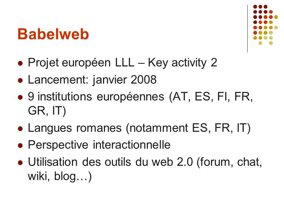 Babelweb Projet européen LLL – Key activity 2 Lancement: janvier 2008 9 institutions européennes (AT, ES, FI, FR, GR, IT) Langues romanes (notamment E