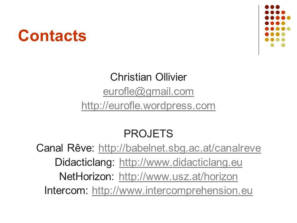 Contacts Christian Ollivier eurofle@gmail.com http://eurofle.wordpress.com PROJETS Canal Rêve: http://babelnet.sbg.ac.at/canalrevehttp://babelnet.sbg.