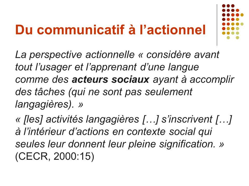 Du communicatif à lactionnel La perspective actionnelle « considère avant tout lusager et lapprenant dune langue comme des acteurs sociaux ayant à acc
