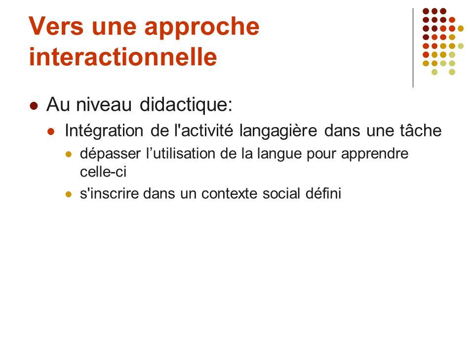 Vers une approche interactionnelle Au niveau didactique: Intégration de l'activité langagière dans une tâche dépasser lutilisation de la langue pour a