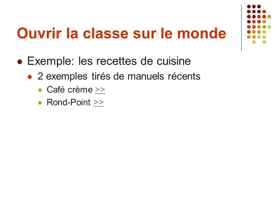 Ouvrir la classe sur le monde Exemple: les recettes de cuisine 2 exemples tirés de manuels récents Café crème >>>> Rond-Point >>>>