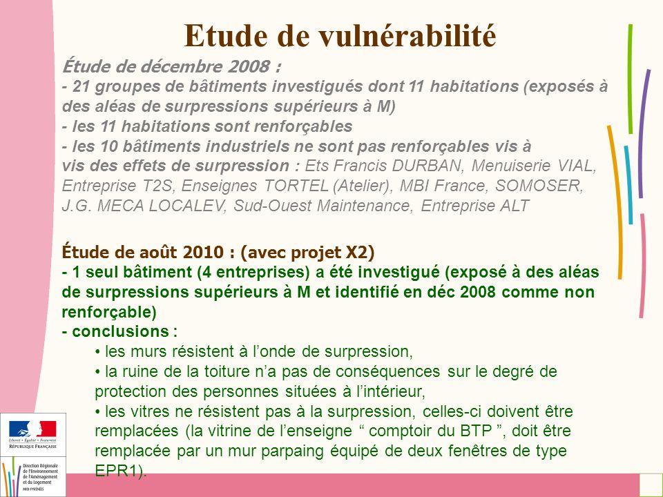 Etude de vulnérabilité Étude de décembre 2008 : - 21 groupes de bâtiments investigués dont 11 habitations (exposés à des aléas de surpressions supérie