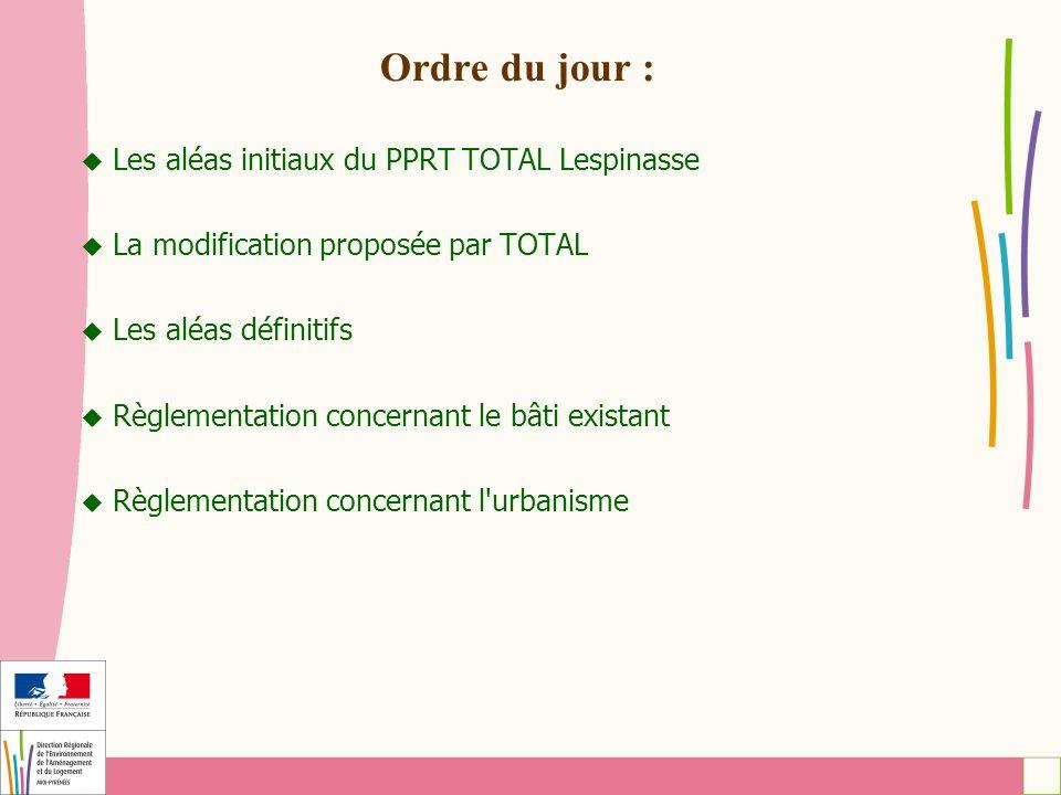Ordre du jour : Les aléas initiaux du PPRT TOTAL Lespinasse La modification proposée par TOTAL Les aléas définitifs Règlementation concernant le bâti