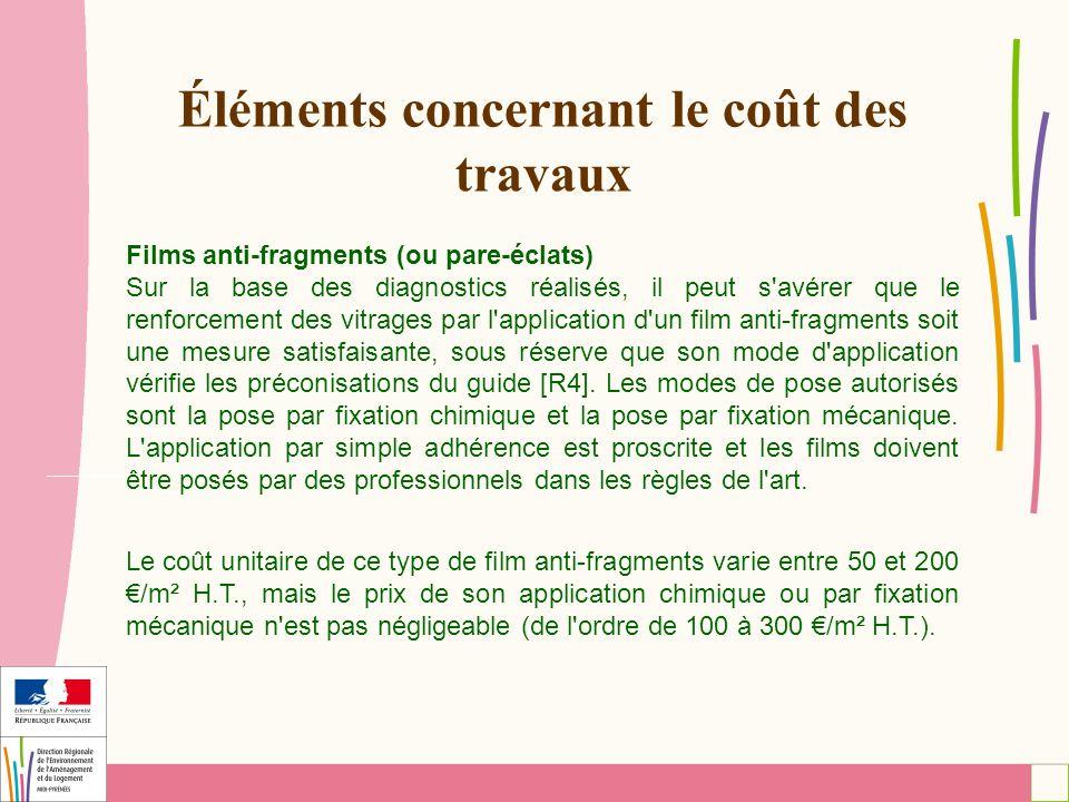 Éléments concernant le coût des travaux Films anti-fragments (ou pare-éclats) Sur la base des diagnostics réalisés, il peut s'avérer que le renforceme