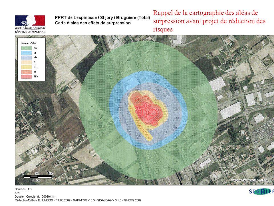 Rappel de la cartographie des aléas de surpression avant projet de réduction des risques