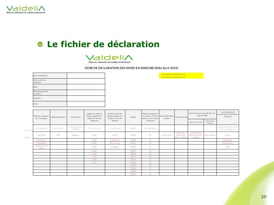 Le fichier de déclaration 29