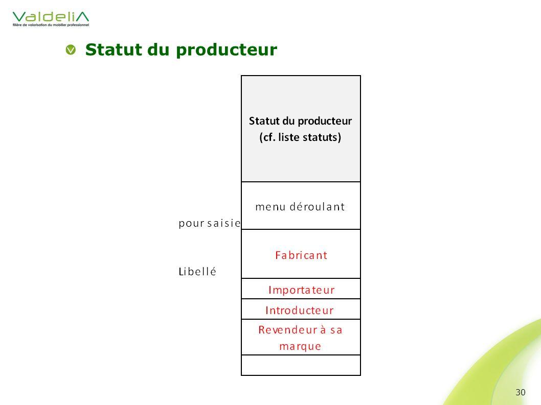 Statut du producteur 30