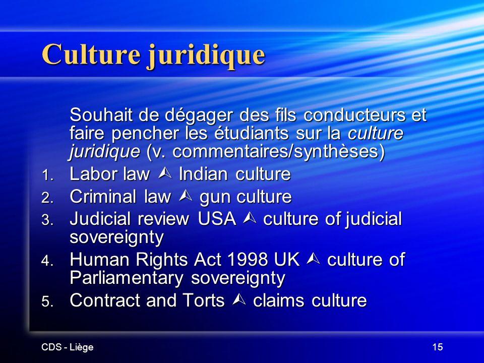 CDS - Liège15 Culture juridique Souhait de dégager des fils conducteurs et faire pencher les étudiants sur la culture juridique (v.