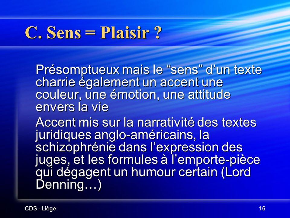 CDS - Liège16 C.Sens = Plaisir .
