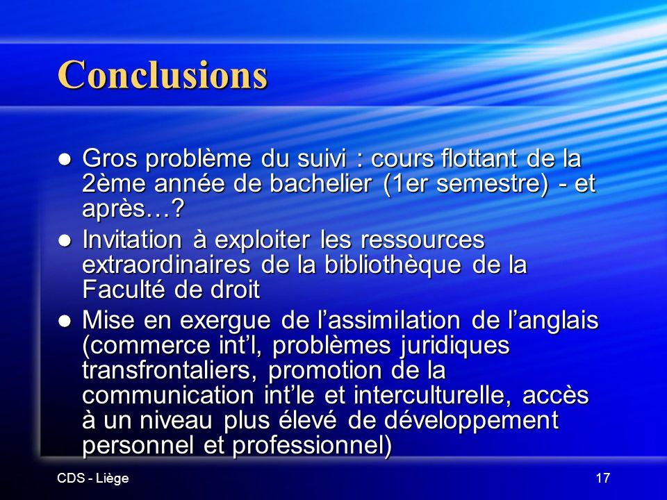 CDS - Liège17 Conclusions Gros problème du suivi : cours flottant de la 2ème année de bachelier (1er semestre) - et après….