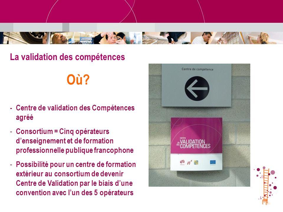 - Centre de validation des Compétences agréé - Consortium = Cinq opérateurs denseignement et de formation professionnelle publique francophone - Possi